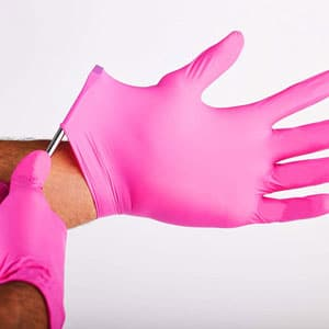 Pink Paws Nitrile Gloves, Latex Rubber Free